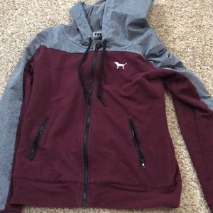 Maroon and grey vs pink hoodie